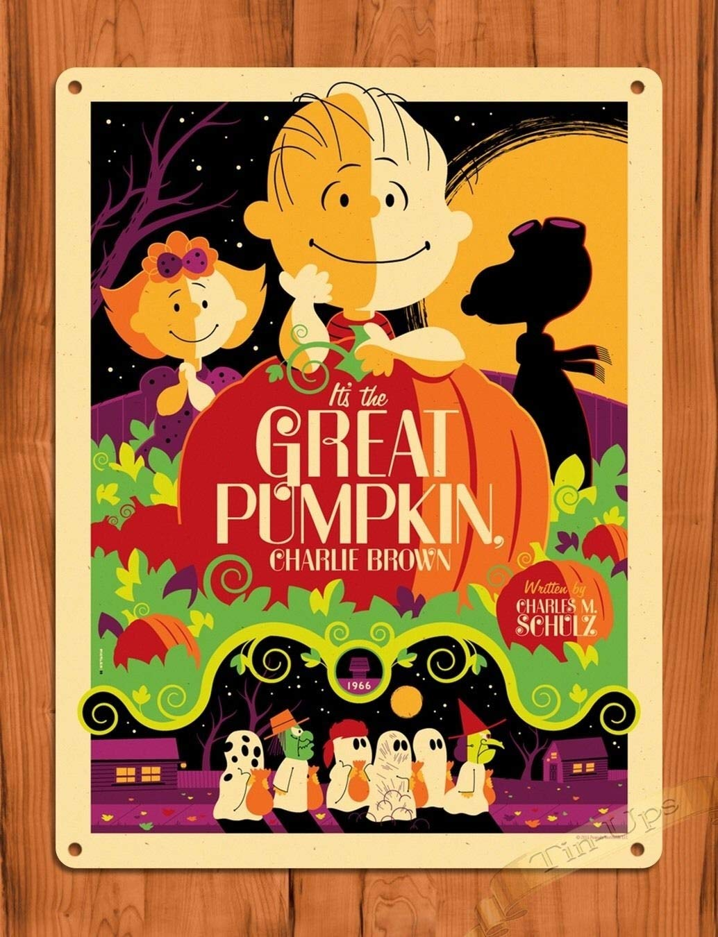 Tin Sign The Great Pumpkin Charlie Brown Vintage Art Painting Movie Poster TIN Sign 7.8X11.8 INCH