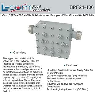 Amazon.com: L-Com BPF24-406 2.4 GHz Q 4-Pole Indoor