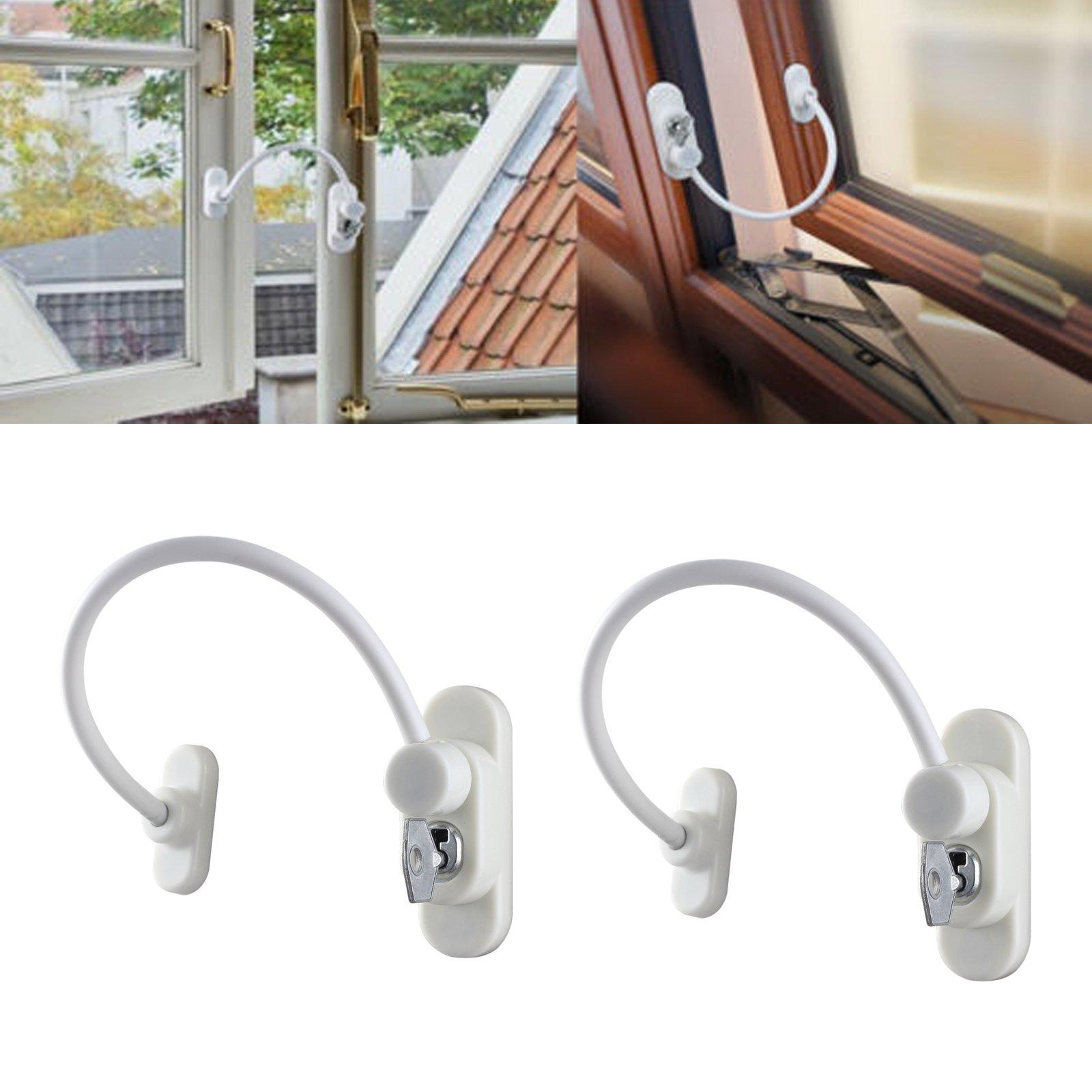 AUTOUTLET 2PCS Safety UPVC Window Restrictor Cable Lock Wire Kids Child Security locks Locked & Unlocked + Release Key