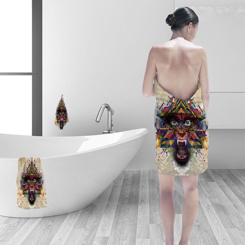 Nalahomeqq Bath towel set Abstract animal face 3D Digital Printing No Chemical OdorEco-Friendly Non Toxic13.8 x 13.8-11.8''x27.6''-27.6''x55.2''