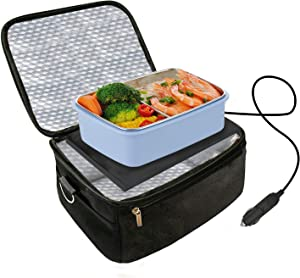 Car Food Warmer Portable 12V Personal Oven Heat Lunch Box with Adjustable/Detachable shoulder strap, Using for Work/Picnic/Road Trip, Electric Slow Cooker for Food (Black)