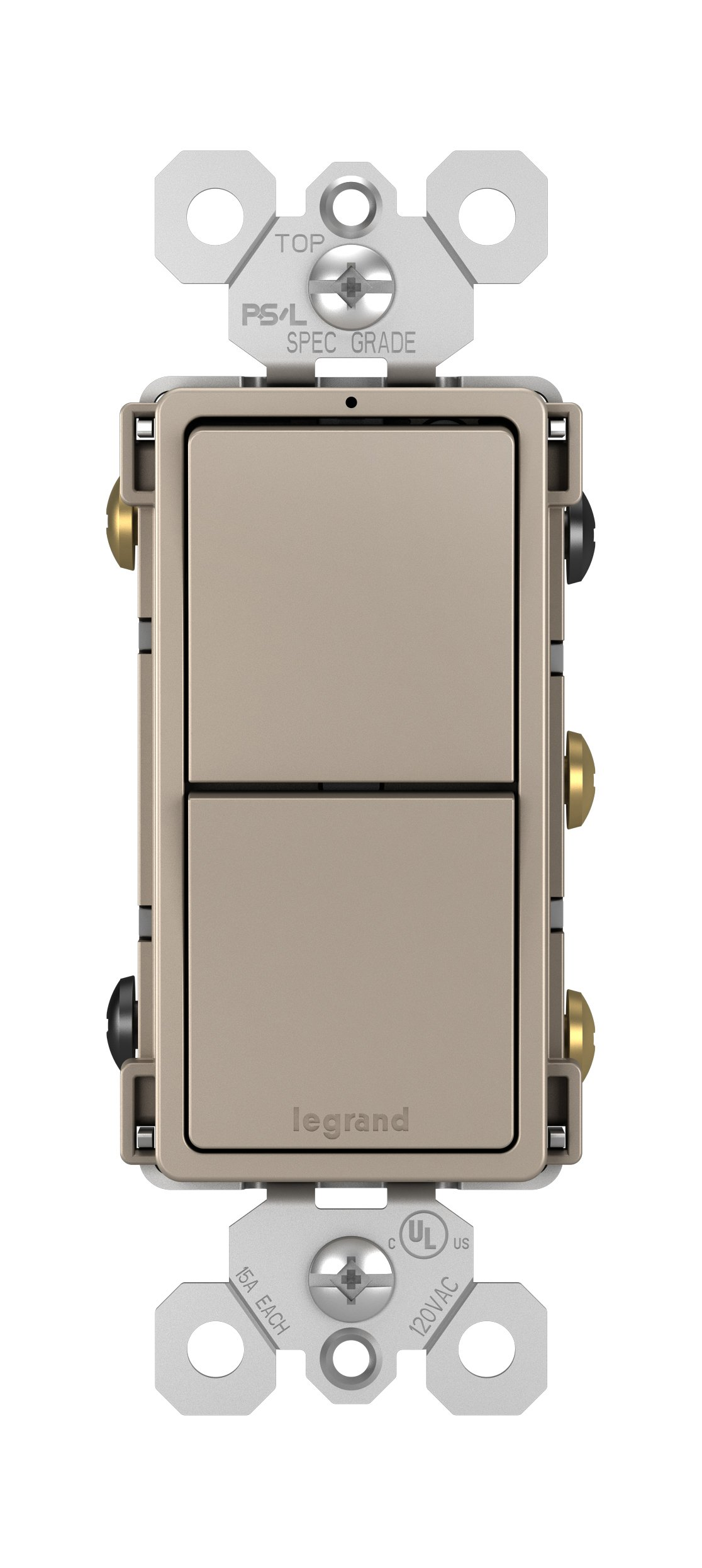 Legrand - Pass & Seymour radiant RCD33NICC6 Combination Switch: 15A Two Single Pole/3-Way, Nickel Finish