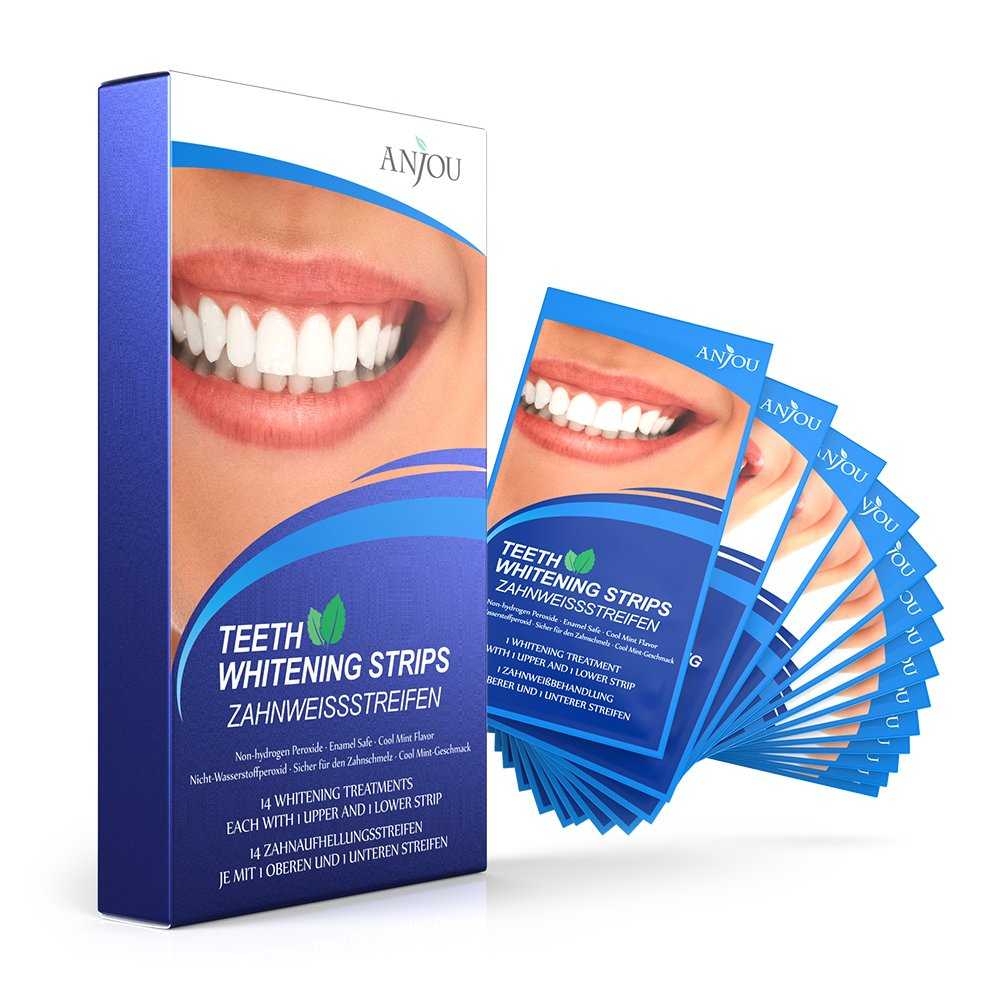 Anjou Teeth Whitening Strips, Professional 14 Sets 28 Pieces Whitestrips Kit, Remove Stains & Freshen Breath with Mint Flavor, Lead to 3D Dental Whiter Teeth in just 14 Days