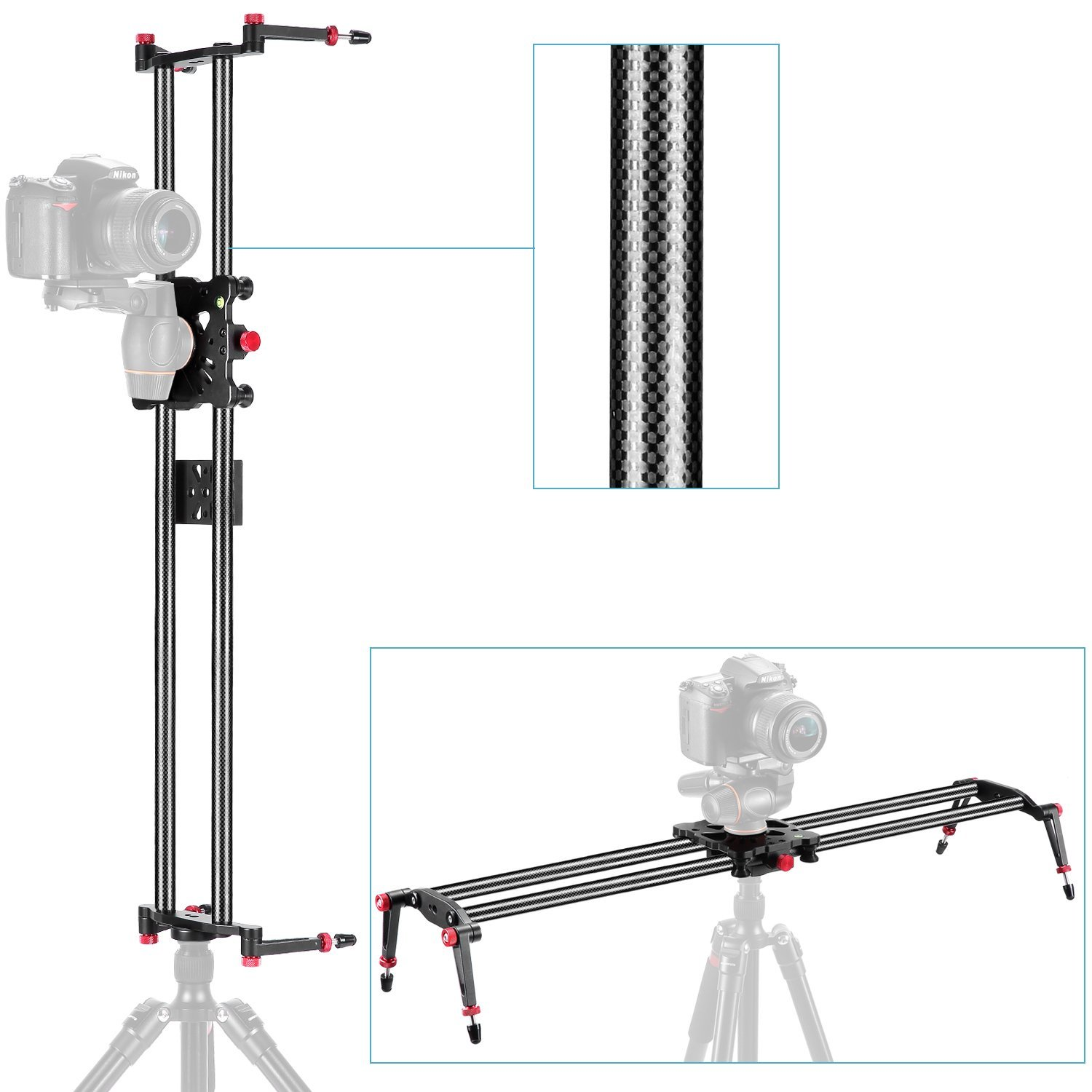 Neewer 47.2''/1.2m Carbon Fiber Camera Track Dolly Slider Rail System with 17.5lbs/8kg Load Capacity for Stabilizing Movie Film Video Making Photography DSLR Camera Nikon Canon Pentax Sony