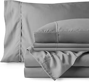Bare Home 6 Piece 1800 Deep Pocket Bed Sheet Set - Ultra-Soft Hypoallergenic - 4 Pillowcases (Queen, Light Grey)