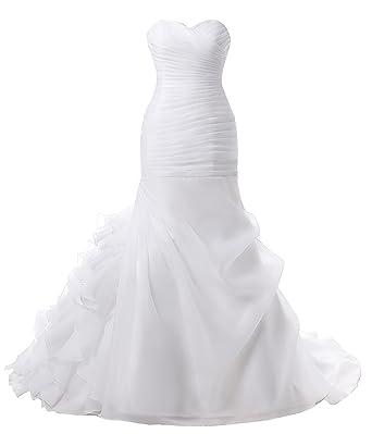 Womens Strapless Ruffles Mermaid Wedding Bridal Prom Gowns Dresses White 2