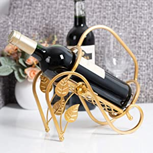 SOPRETY Countertop Wine Rack Gold Single Wine Bottle Holder Freestanding, Rose Flower Decoration, Metal Wine Organizer Stand Tabletop Display for Home and Office, Thickening Stainless Steel
