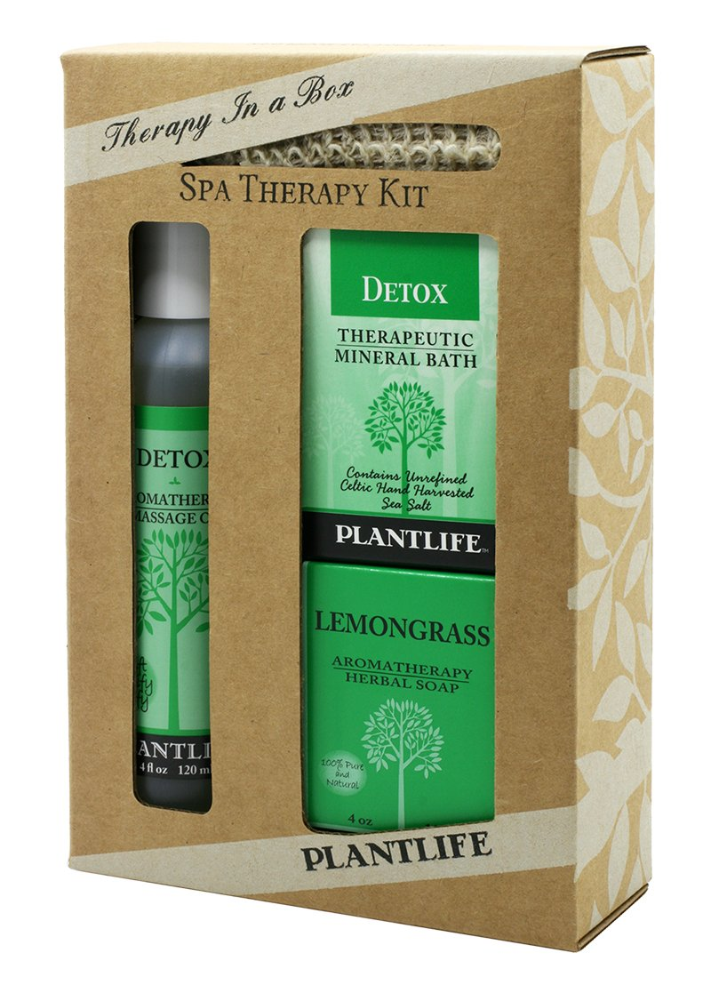 Detox Spa @ Home Gift Set with 4 oz Detox Massage Oil. 3 oz Detox Bath Salt and 4 oz Bar of Lemongrass Aromatherapy Soap by Plantlife