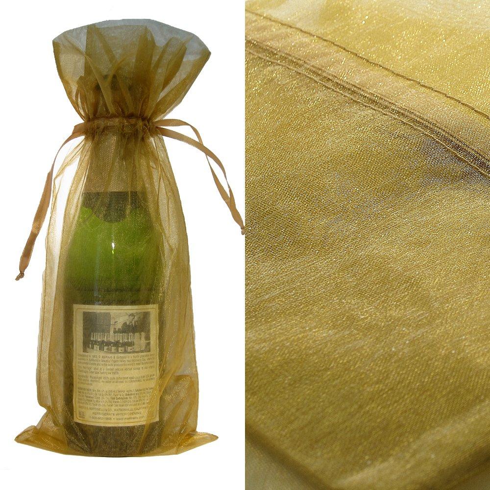 10x Gold Bottle & Wine Organza Favor Gift Bags 6.5x15 inch ($0.94 each)
