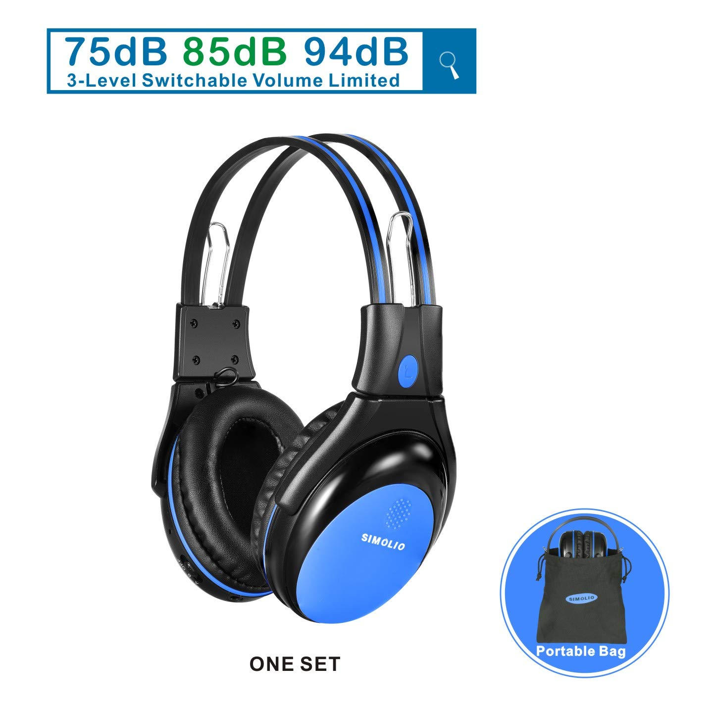 1 Pack of Wireless Kids Headphones with 3 Levels Volume Limiting, in Car IR Headphones with Sharing Jack, IR Wireless Headsets for Car DVD/TV, 2 Channel Foldable Car DVD Headphones, Blue by SIMOLIO
