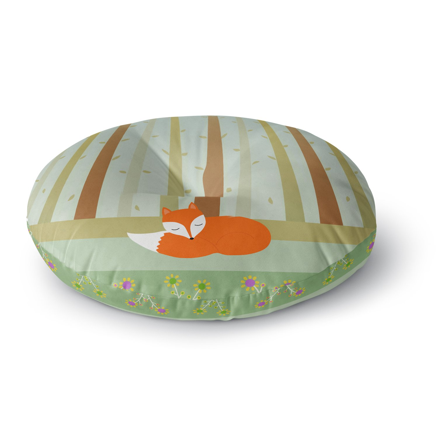 Kess InHouse Cristina Bianco Design Sleeping Fox Green Illustration Round Floor Pillow 26' CB2006ARF02