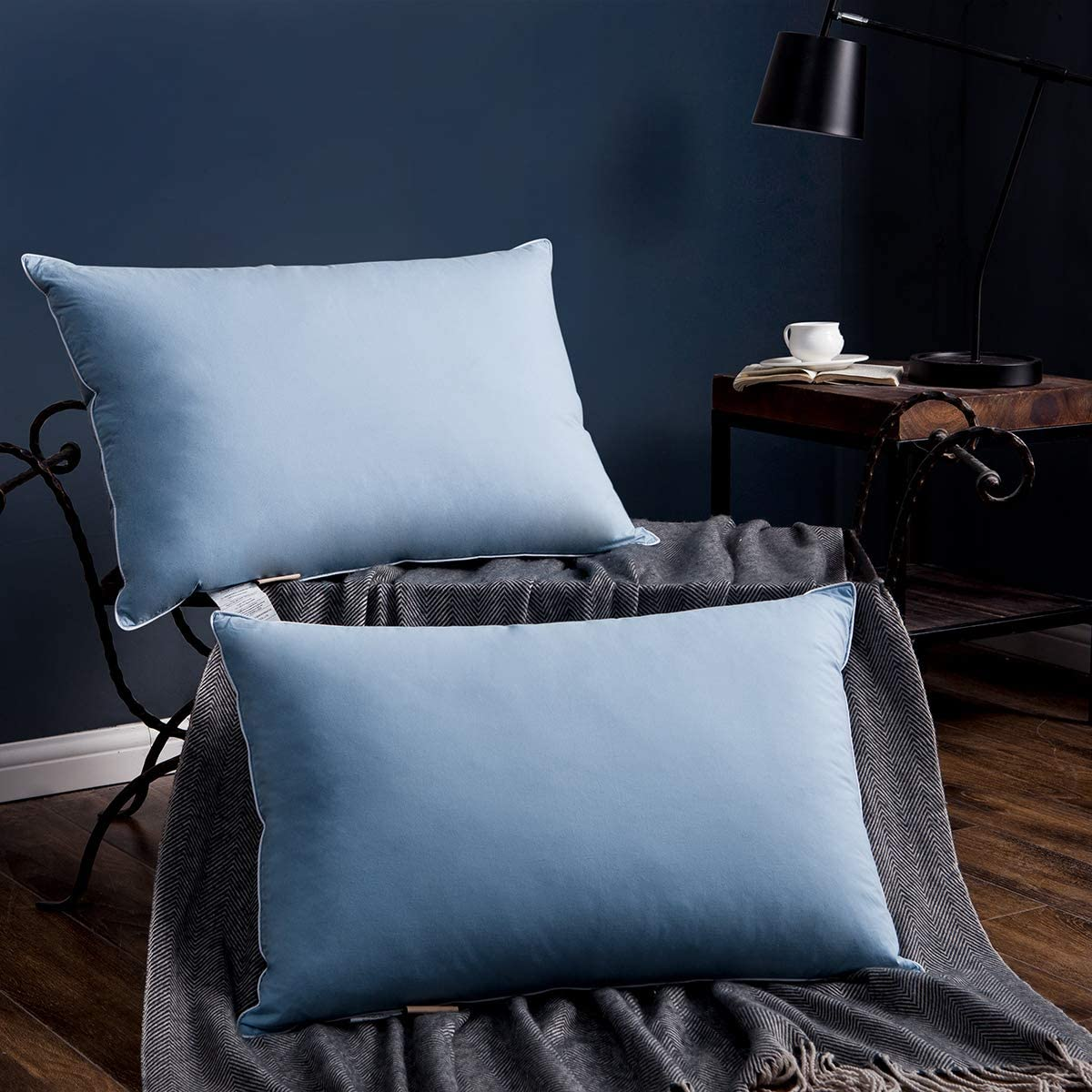 SNOWMAN Luxury Goose Down Pillow for Sleeping (Set of 2) Queen Size Pillow - 100% Cotton Shell Breathable and Fresh, Blue