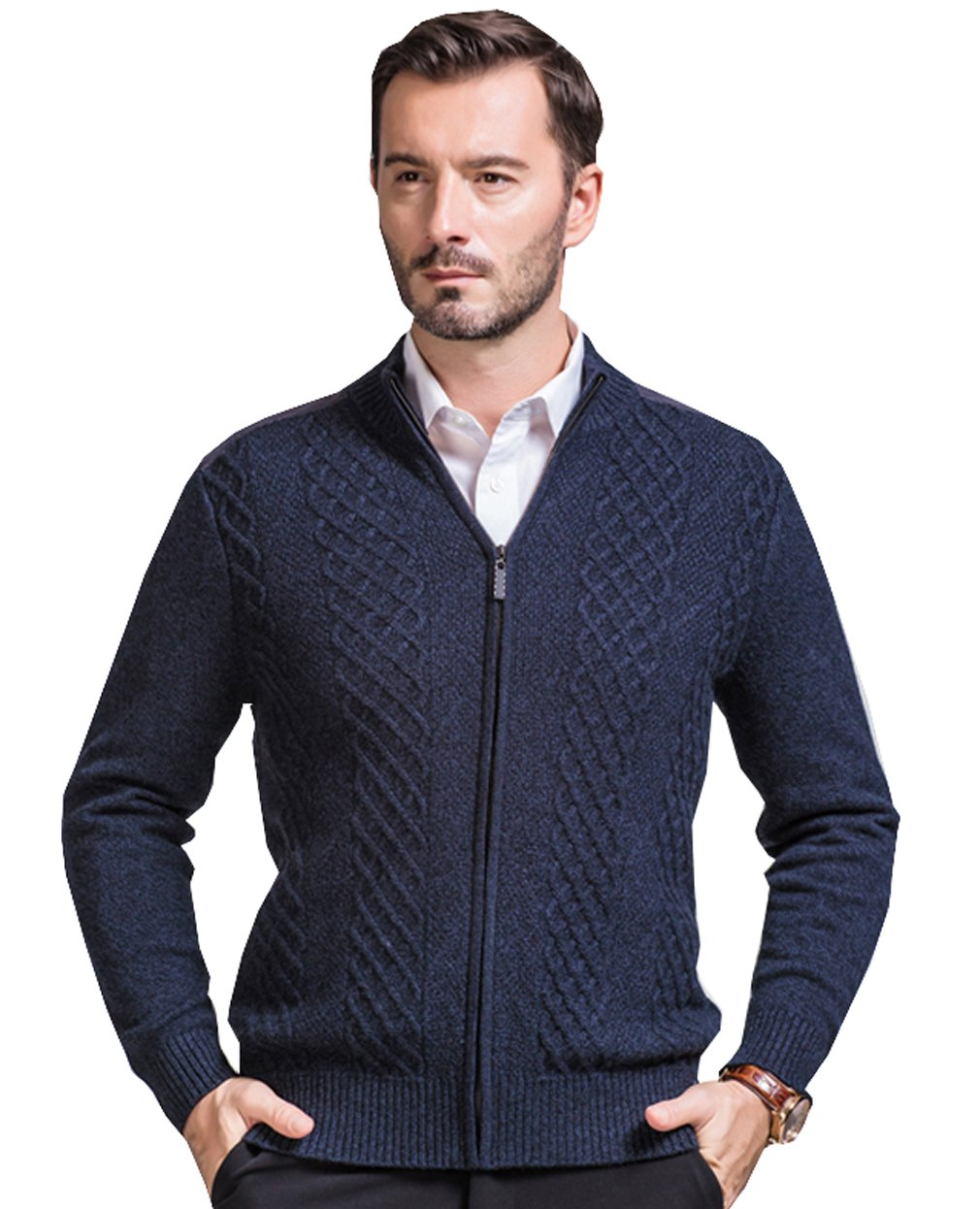 METERDE Men's Fashion Long Sleeve Knit Thick Winter Cardigan Deep Grey XL