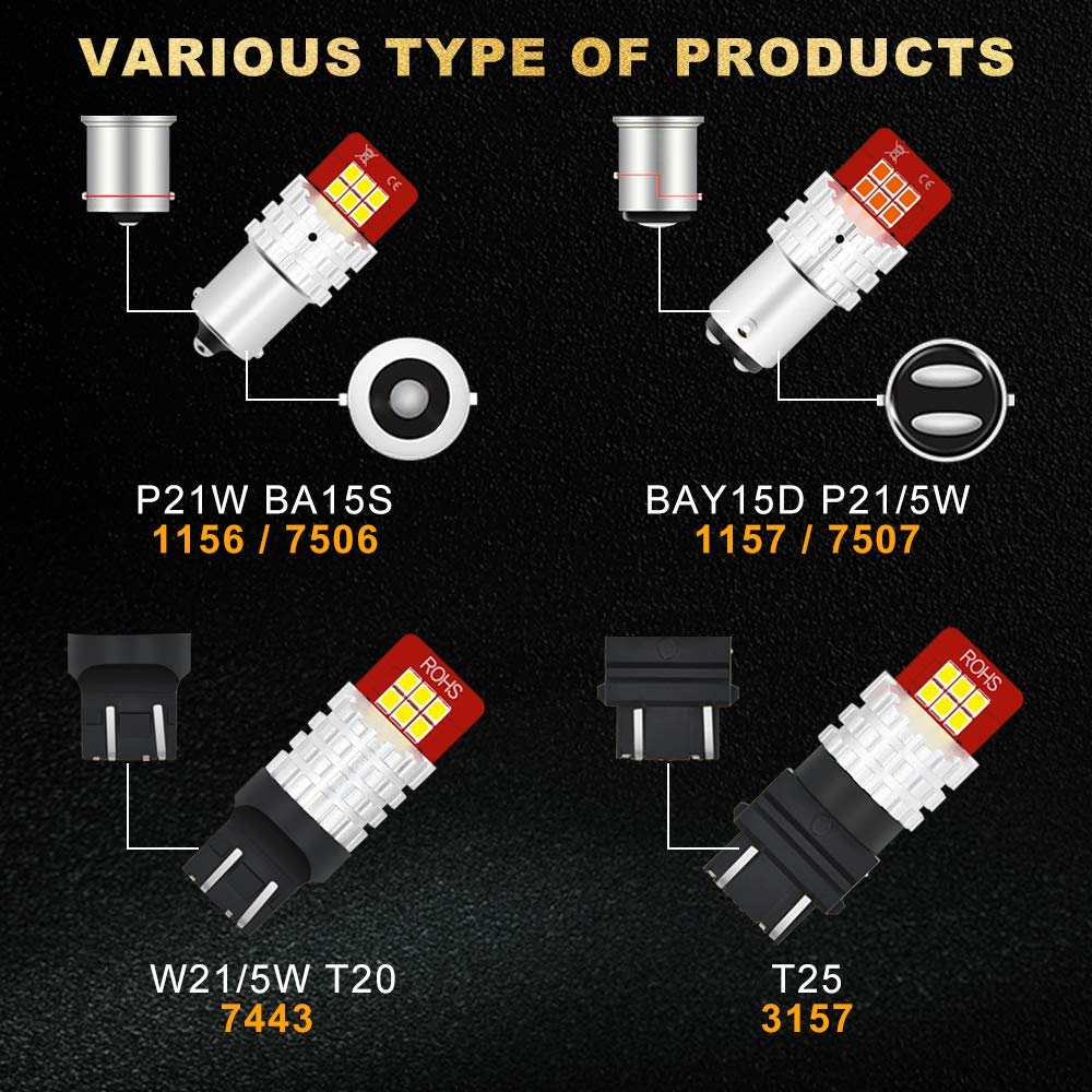2-Pack 4350374168 AUXITO Brilliant Red-3156 3157 3057R 3057 4057 4157 LED Bulbs with Super High Bright 2835 LED Chips Replacement for Brake-Light Tail Light