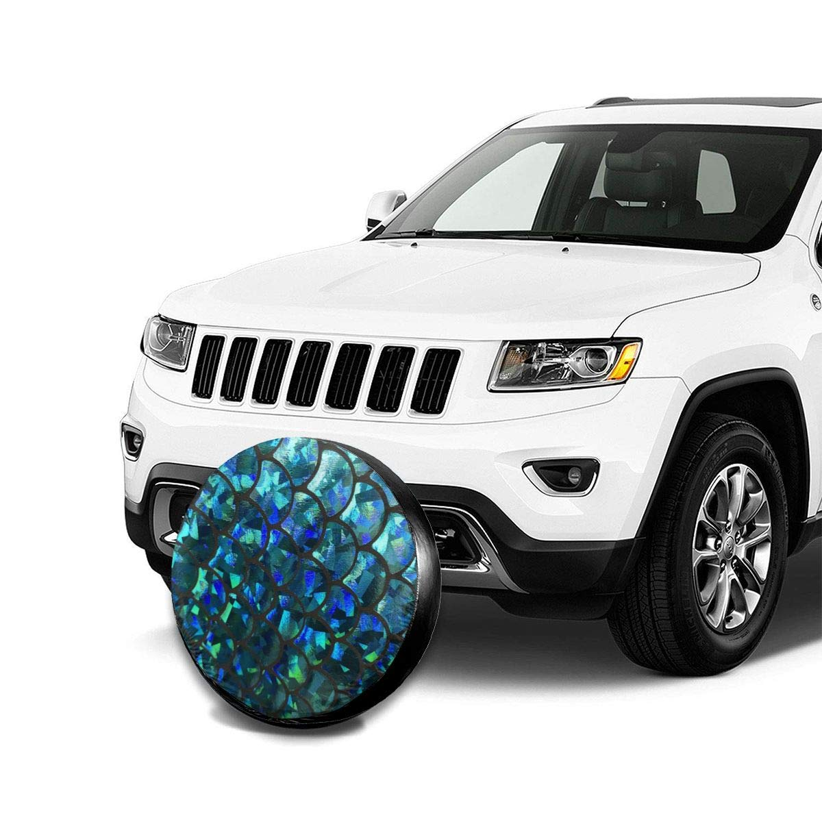 Tire Cover Turquoise Stretch Mermaid Scales Polyester Universal Spare Wheel Tire Cover Wheel Covers Jeep Trailer RV SUV Truck Camper Travel Trailer Accessories 14,15,16,17 Inch