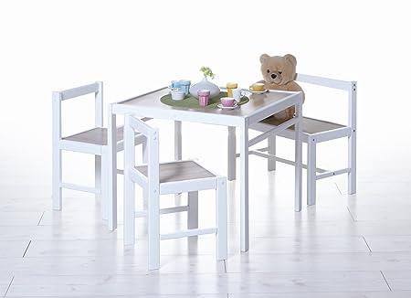 Kinder Tischgruppe 4-teilig Massivholz Kiefer Sonoma Weiss