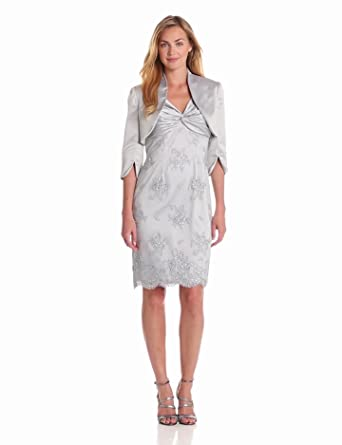 Adrianna Papell Women's Twisted Lace Dress With Jacket, Dusty Blue, 4