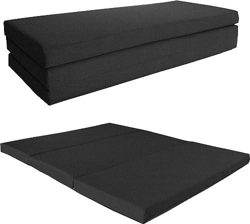 D D Futon Furniture Queen Black Shikibuton Trifold Foam Beds 4 X 60 X 80