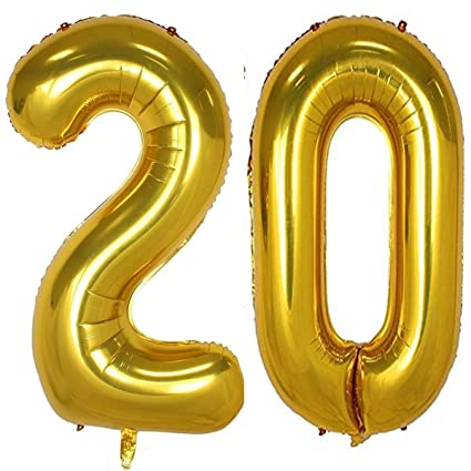 db6a515e5a8 40inch Gold Foil 20 Helium Jumbo Digital Number Balloons, 20th Birthday  Decoration for Girls or Boys, sweet 20 Birthday Party Supplies