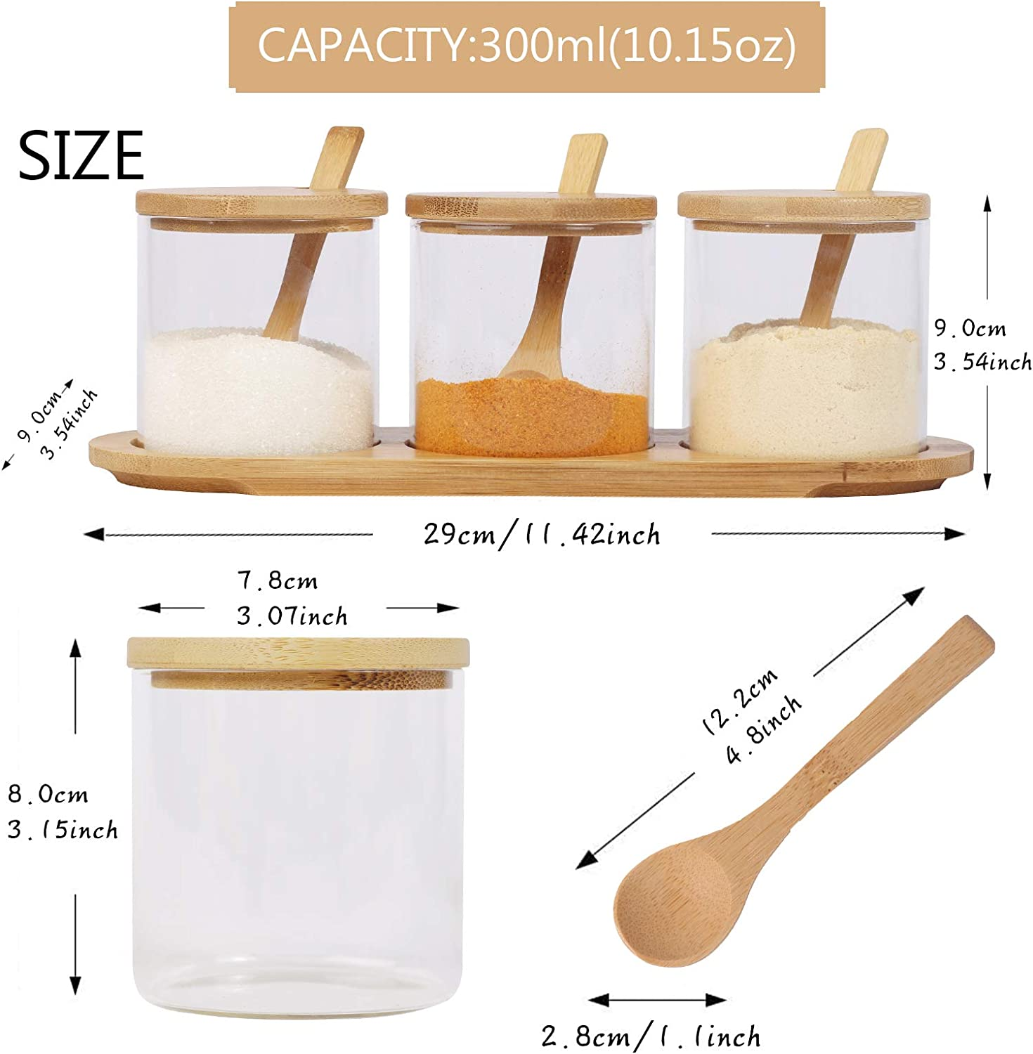 Helical Jar Condiment Jars with Lids and Spoons Salt Sugar Spice Pepper Box Canisters Pots with Bamboo Wooden Base for Home Kitchen Coffee Bar Set of 3 10oz Glass Seasoning Containers with Tray
