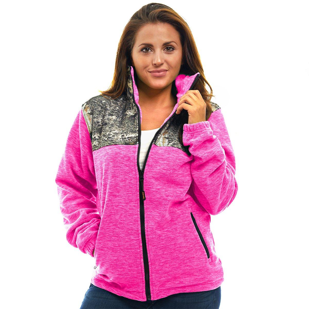 TrailCrest Women's C-Max Full Zip Fleece Jacket, Mossy Oak Mountain Country Camo (Pink Heather - Large)