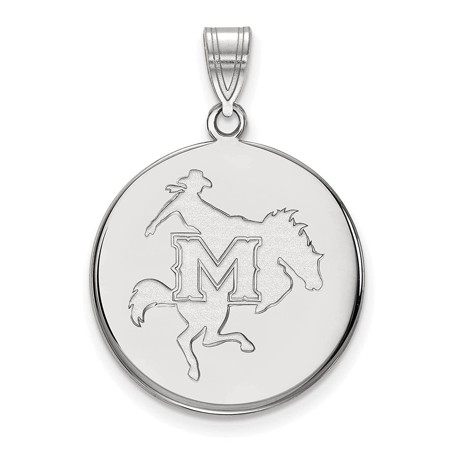 925 Sterling Silver Rhodium-plated Laser-cut McNeese State University Large Disc Pendant