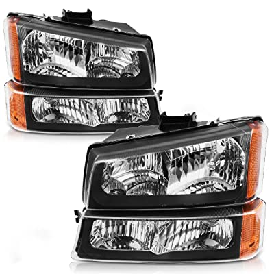 AUTOSAVER88 Headlight Assembly Compatible with 2003-2007 Chevy Silverado 1500/2500/3500,2003-2006 Chevy Avalanche Black Housing with Front Signal Lights (Not Compatible with Body Cladding Models): Automotive [5Bkhe0115526]