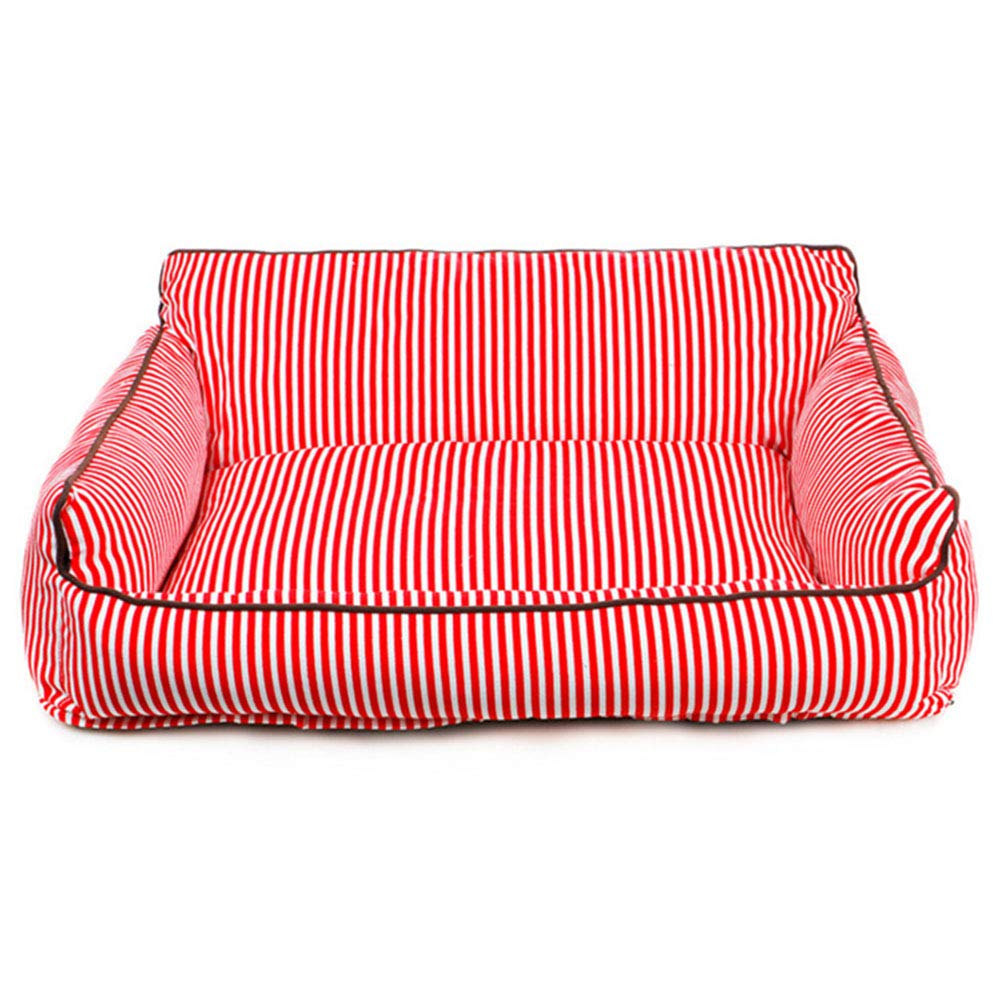 Red L(805530cm) red L(805530cm) Pet Mat Four Seasonskennel Cat Litter Removable Washable Striped For Small Medium Dogs Red L(80  55  30cm)