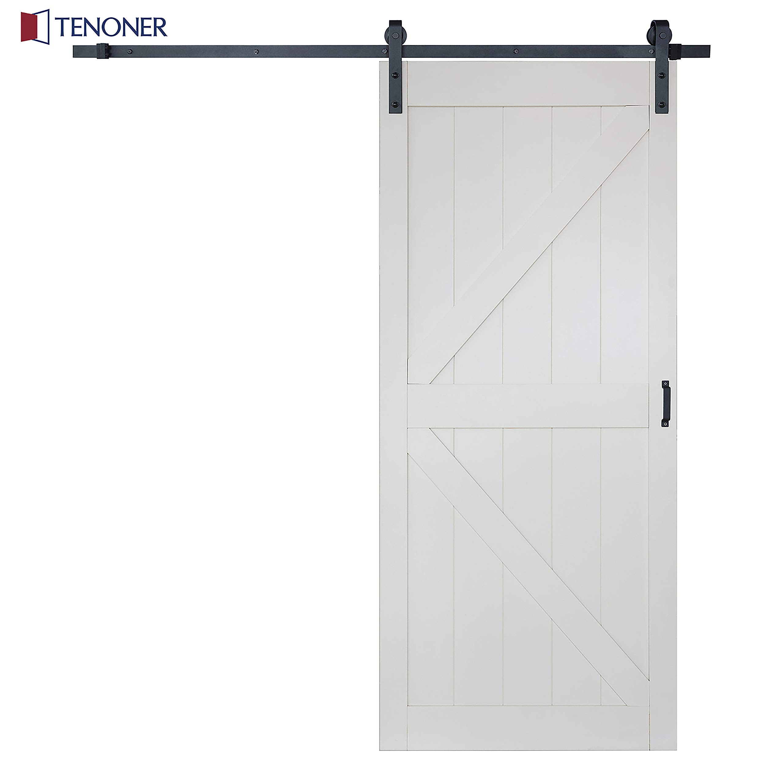 TENONER 36in x 84in White K-Frame Sliding Barn Door, with 6.6ft Barn Door Hardware Kit & Handle, Pre-Drilled Ready to Assemble Solid MDF & Wood Door Slab Covered with Water-Proof Surface