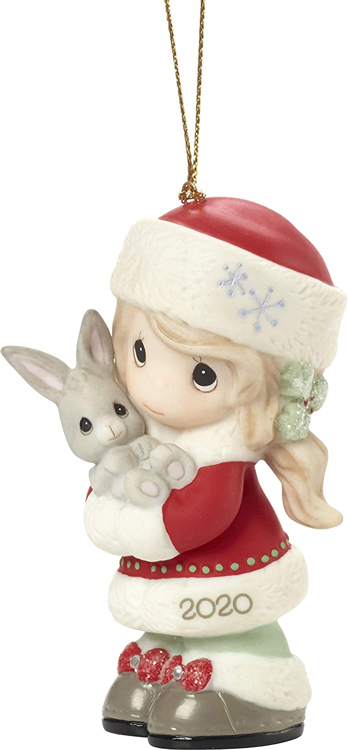 Amazon Com Precious Moments 201002 Every Bunny Loves A Christmas Hug 2020 Dated Girl Bisque Porcelain Ornament Multicolored Home Kitchen