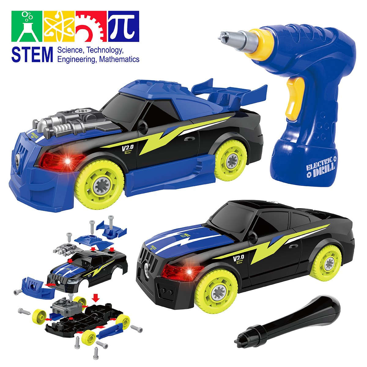 Maxxrace Take Apart Racing Car, STEM Toys 26 Pieces Assembly Car Toys with Drill Tool, Lights and Sounds, Gifts for Kids Aged 3+ by Maxxrace (Image #1)