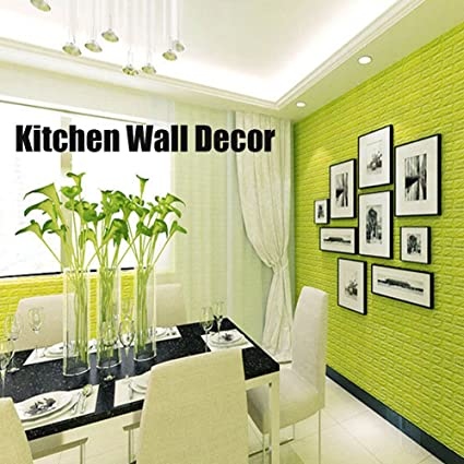Amazon.com: Green Color Foam Wallpaper Sticker for Boys Room Wall ...