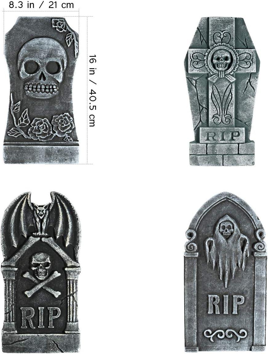 Halloween Foam Graveyard Tombstones 4 Pack RIP Gravestone Graveyard Haunted House Decorations for Halloween Yard Decorations