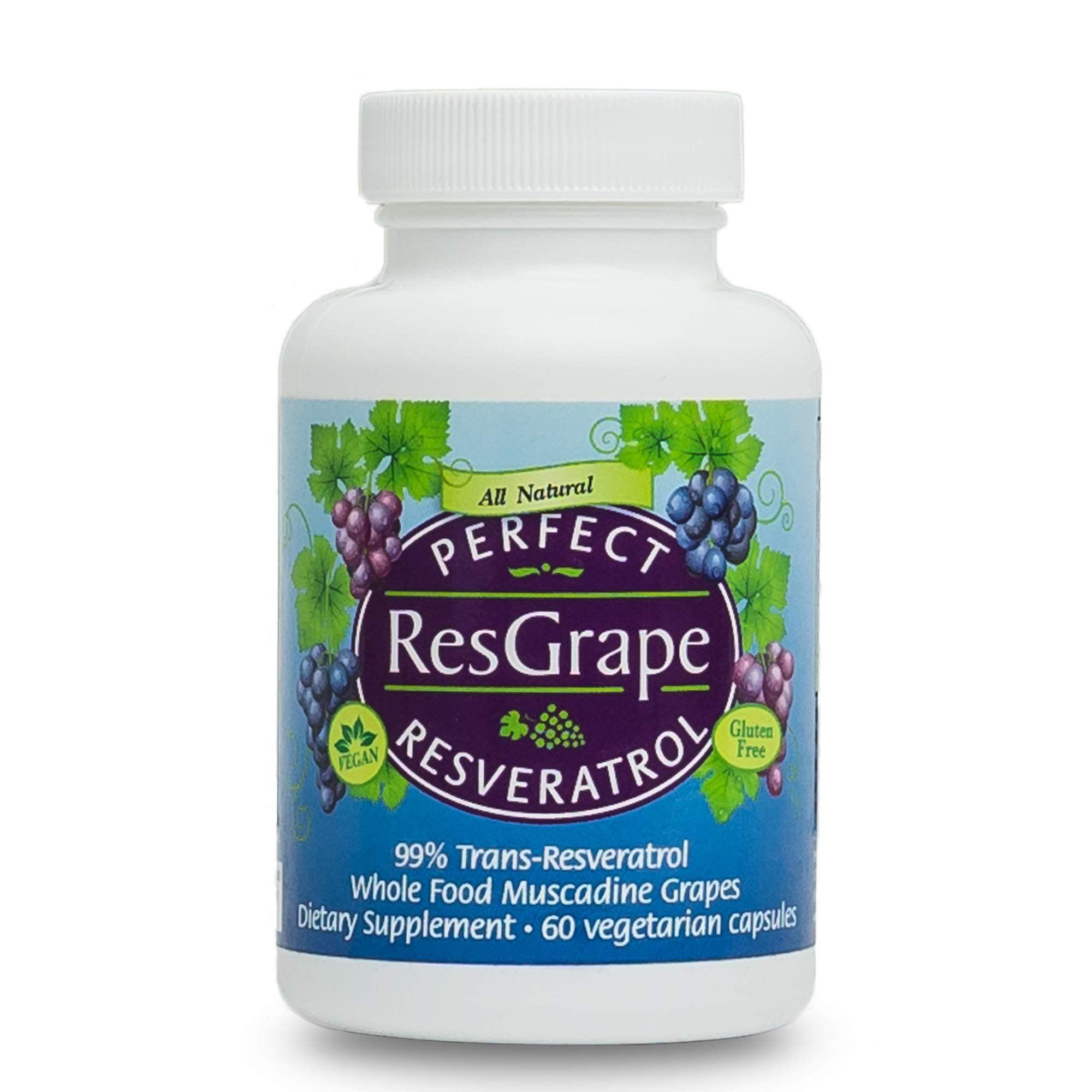 Perfect Resgrape Resveratrol Supplement - 200mg 99% Trans-Resvertarol - Made From Organic Muscadine Grapes - 60 Vegetable Capsules by Perfect Supplements