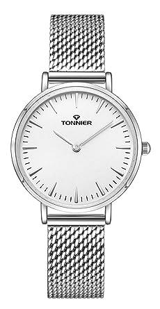 Tonnier Silver Slim Stainless Steel Mesh Strap Women Watch White Face Watch