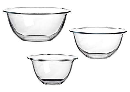 Juego de 3 cuencos de vidrio para mezclar, resistentes al calor ...