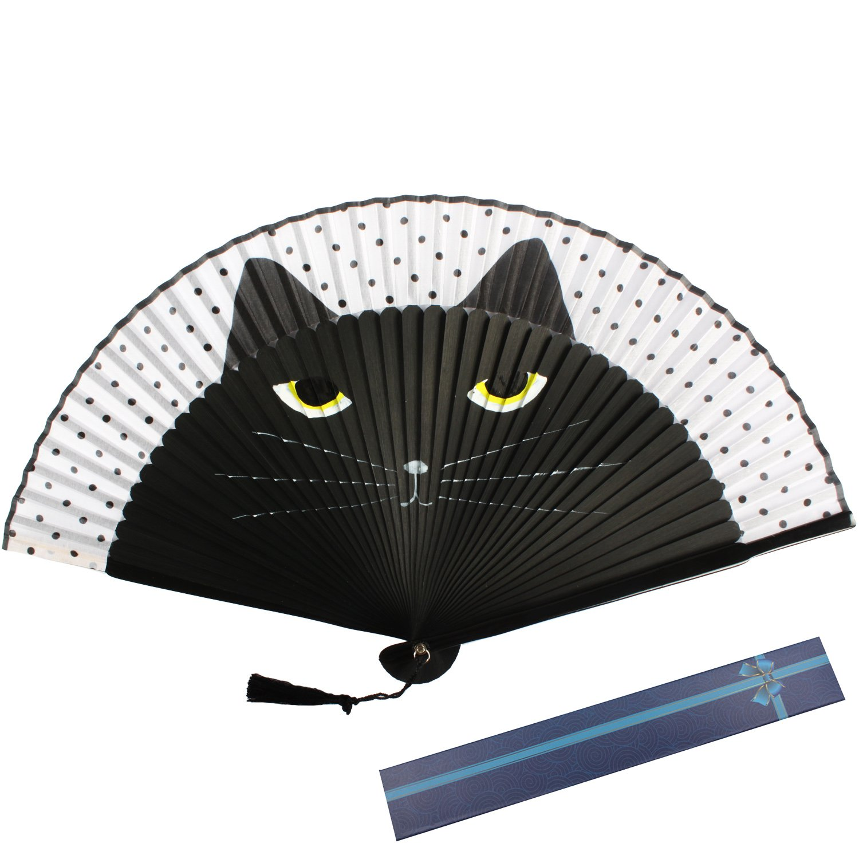 Mano Seta Fan di bambù estate pieghevole seta fumetto Kawaii sveglio del ventilatore per favore partito (nero) Kakoo