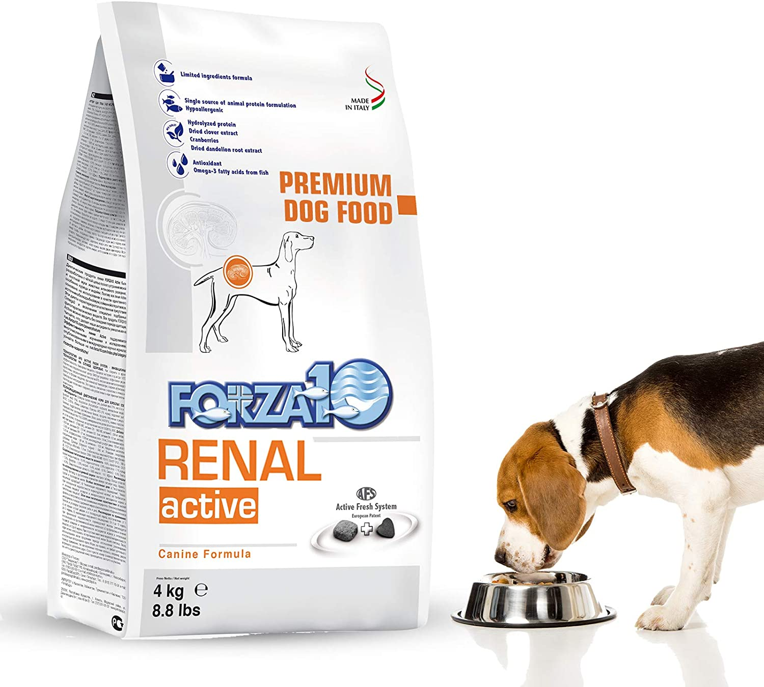 Forza10 Dry Dog Food for Kidney Renal Care - Specially Formulated Adult Dog Food for Large, Medium, Small Breeds, 8.8 Pounds