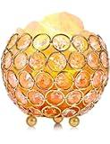 Lampada di Sale, EECOO Lampada di Cristalli di Sale Naturale, Aria Purificata Curativo Radiazioni Ionizzanti Lampadine, 2 Lampadine di Ricambio, Luminosità Regolabile, Design Elegante - Arancione/Rosa (A)