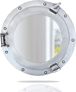 Nautical Specials AL 4870-VC Round Ship Porthole Windows-Maritime Nautical Home Decor/Boat Fan Gift Mirror, Aluminum Silver Glass