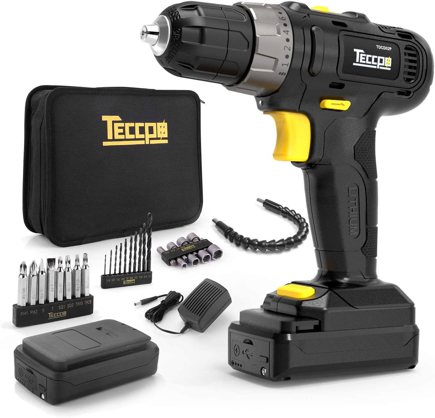 """12V Cordless Drill, 2pcs 2000mAh Lithium-Ion Compact Drill Set, 20+1 Position, 2-Speed Adjustment, Max Torque 240In-lbs, 3/8"""" Chuck Max, LED Light, 27pcs Accessories"""