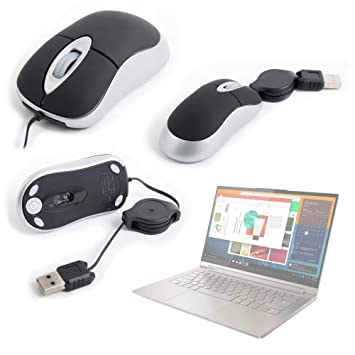 DURAGADGET Ergonómico Mini Ratón con Cable Retráctil ...