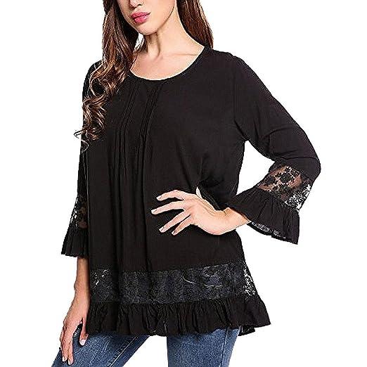ee857f4edcf Kangma Women Summer 3 4 Flare Sleeve Scoop Neck Lace Tops Shirt Blouse Black