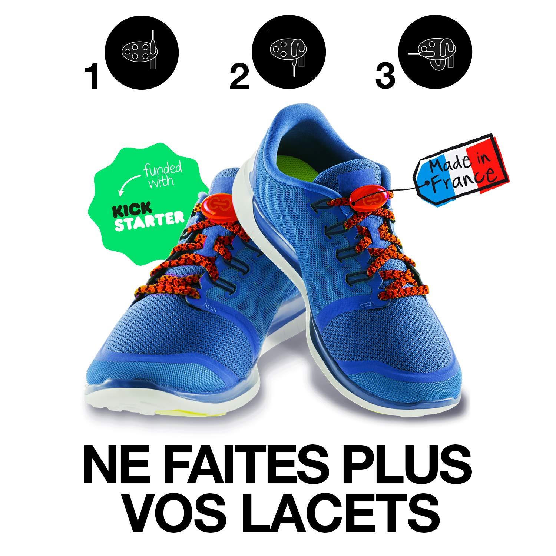 LOOPSTOP le lacet compatible pour toutes les chaussures - lacets élastiques pour le sport, basket, sneakers, chaussures de ville et ajustable pour l'enfant et l'adulte - 10 coloris
