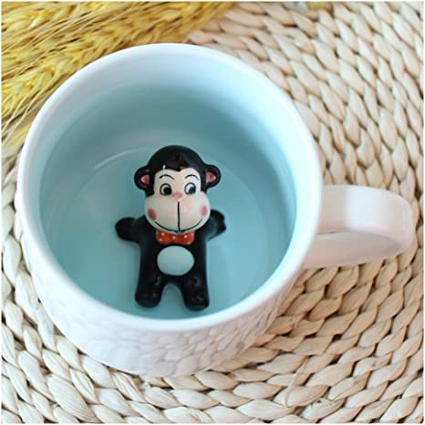 Amazon Com 3d Coffee Mug Animal Inside 12 Oz With Monkey Cute Cartoon Handmade Figurine Home Ceramics Cups Morning Mugs Kitchen Dining