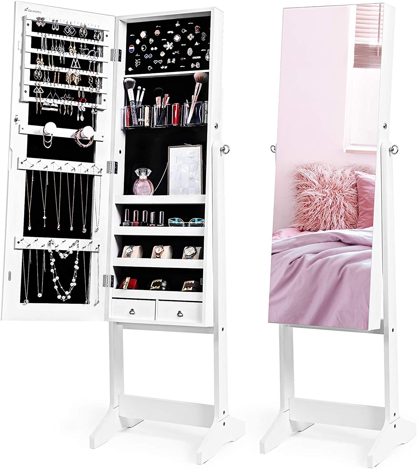Nicetree Jewelry Cabinet with Full-Length Mirror, Standing Lockable Jewelry Armoire Organizer, 3 Angel Adjustable (White)