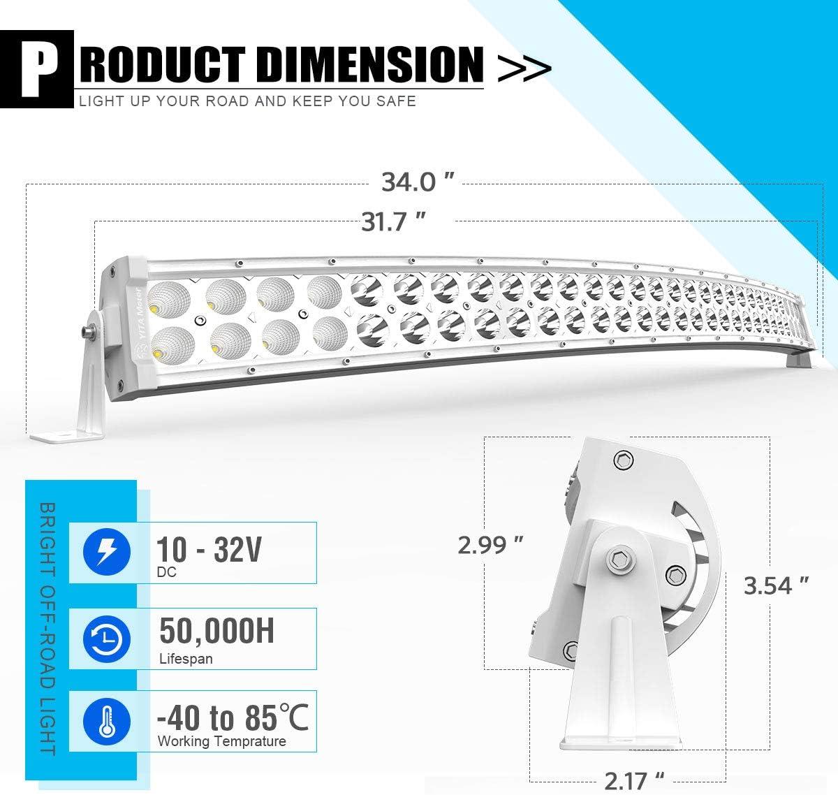 Yitamotor Barre lumineuse LED incurvée 40,40 cm 40 W avec faisceau de  câblage 40 V Compatible avec pick up, Jeep, voiture, camion, bateau, VTT,  moto