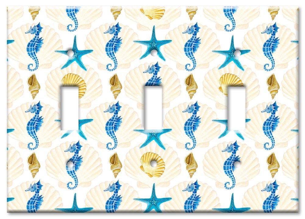 Art Plates Brand Single Gang Rocker Switch//Wall Plate Seahorses /& Shells