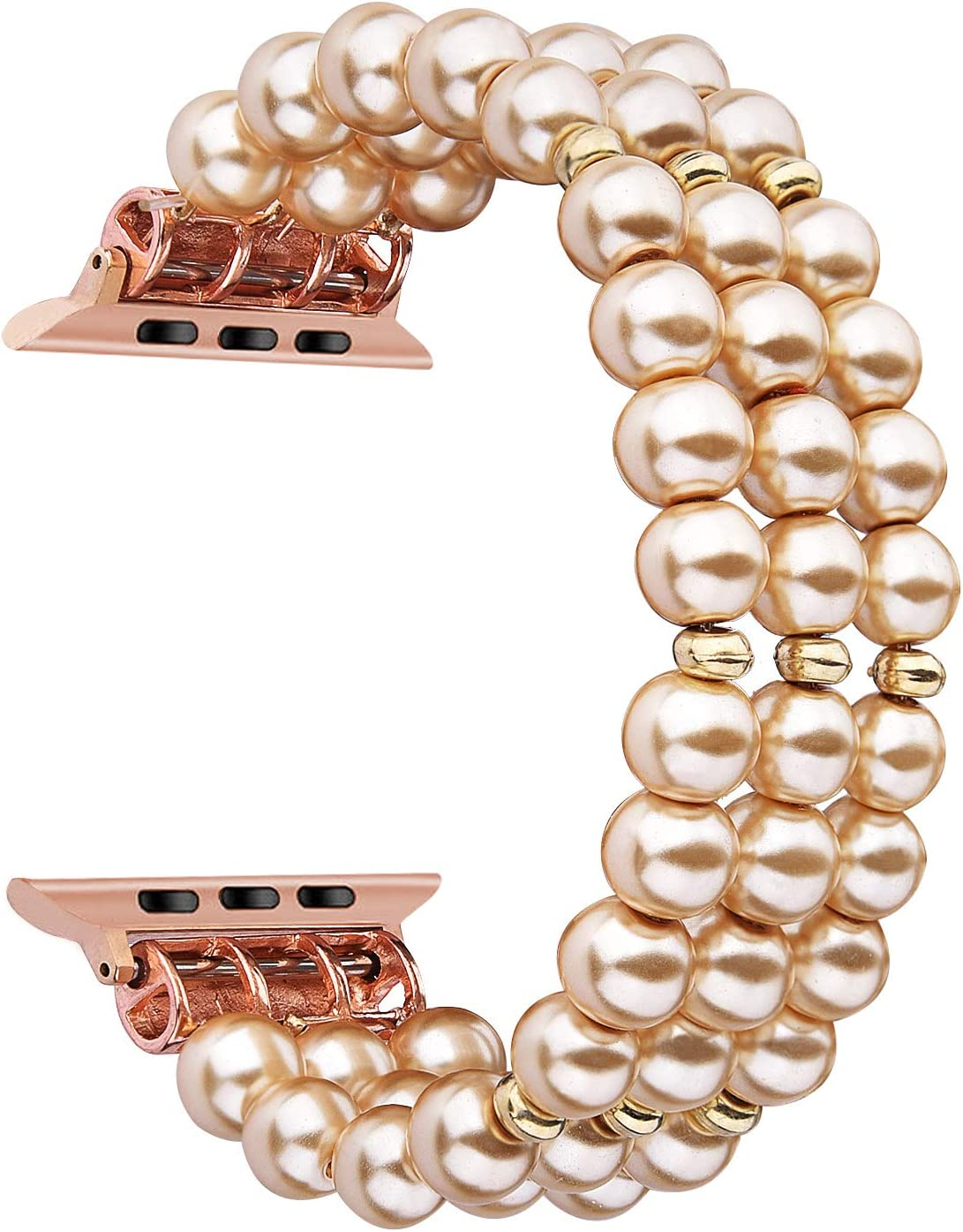 CAGOS Pearl Bracelet Compatible with Apple Watch Band 40mm/38mm Women Girl, Cute Handmade Fashion Elastic Stretch Beaded Strap Compatible for iWatch Series 5/4/3/2/1 (Champagne, 38mm/40mm)