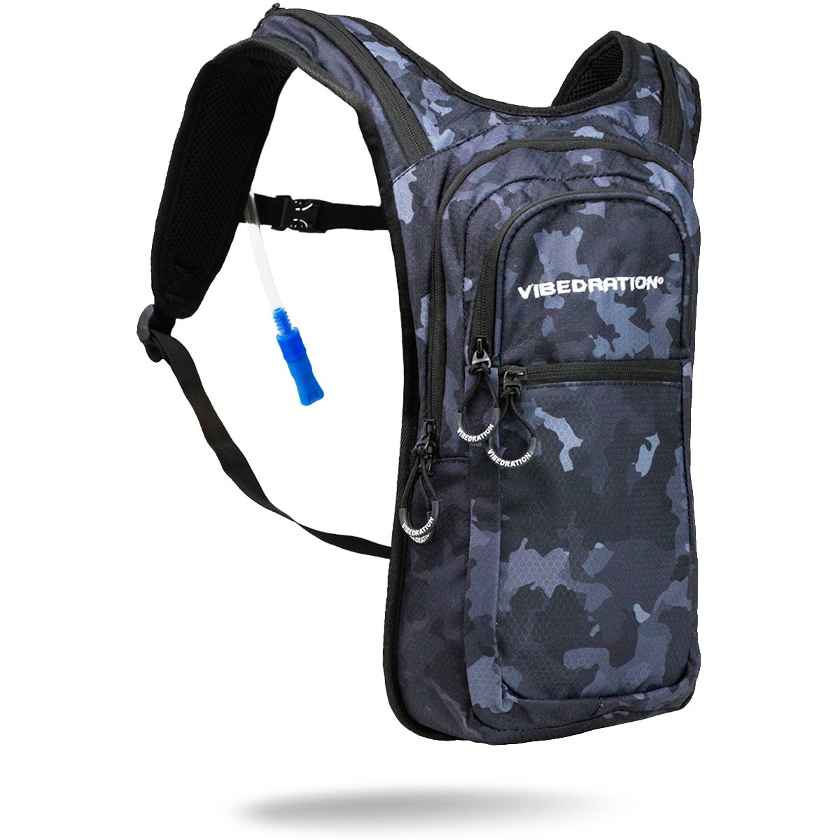 Vibedration VIP 2 Liter Hydration Pack | Festival Rave Hydration, Hiking Camping Backpack (Camo - Black)